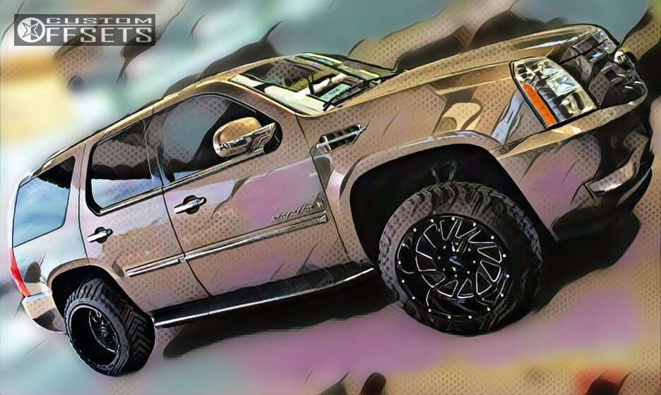 """2010 Cadillac Escalade Super Aggressive 3""""-5"""" on 20x12 -44 offset Onyx P92 and 285/50 Atturo Trail Blade Mt on Leveling Kit - Custom Offsets Gallery"""