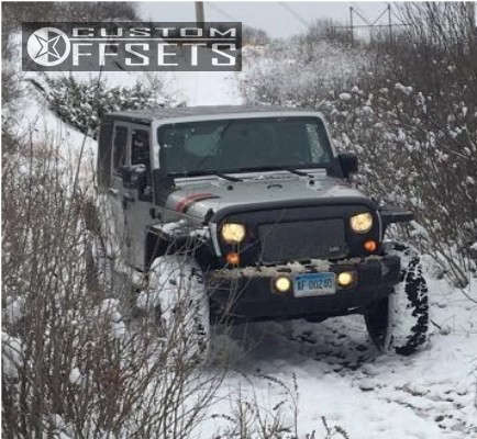 """2008 Jeep Wrangler Slightly Aggressive on 17x9 -12 offset American Racing ATX Ax195 and 35""""x12.5"""" General Grabber AT2 on Leveling Kit - Custom Offsets Gallery"""