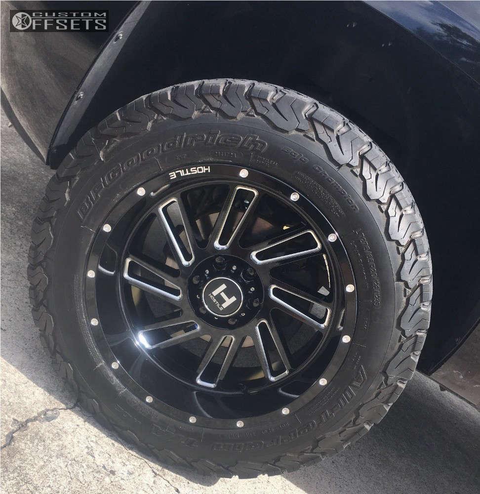 """2007 Chevrolet Avalanche Aggressive > 1"""" outside fender on 20x10 -19 offset Hostile Stryker and 275/65 BFGoodrich All Terrain TA KO2 on Leveling Kit - Custom Offsets Gallery"""