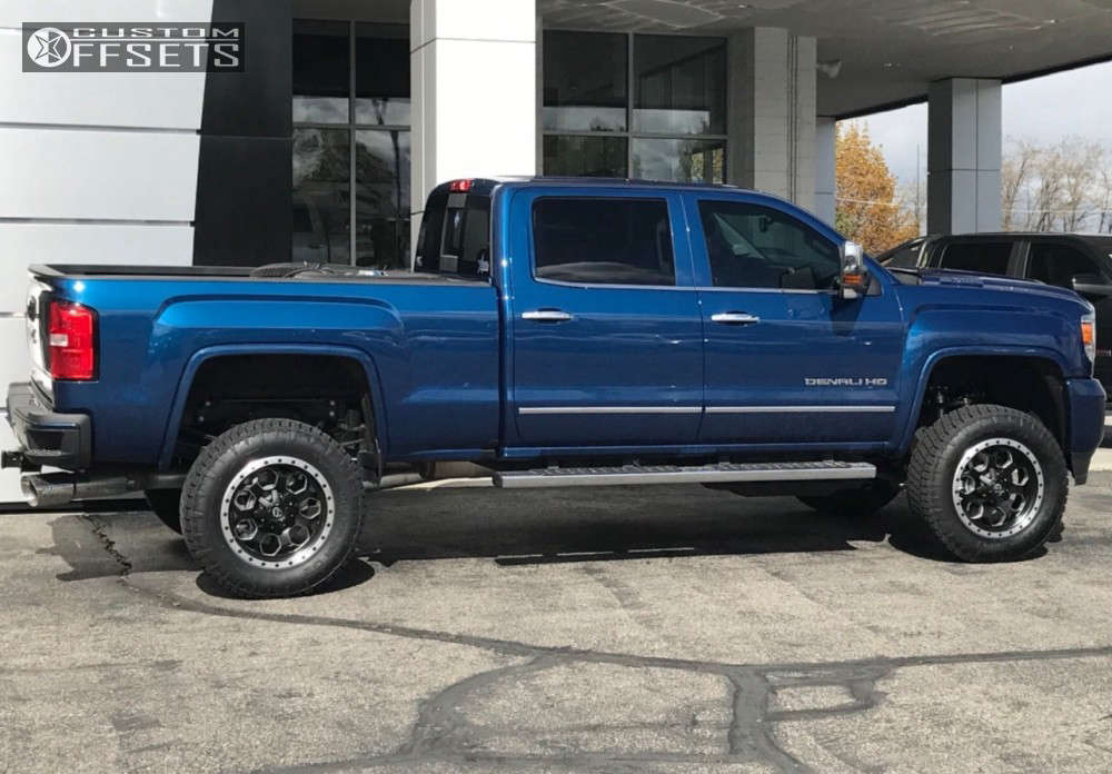 """2017 GMC Sierra 3500 HD Nearly Flush on 20x9 20 offset Fuel Savage & 285/65 Nitto Terra Grappler G2 on Suspension Lift 4.5"""" - Custom Offsets Gallery"""