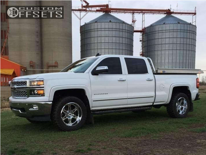 """2015 Chevrolet Silverado 1500 Aggressive > 1"""" outside fender on 20x10 -19 offset Hostile Havoc and 33""""x12.5"""" Toyo Tires Open Country M/T on Leveling Kit - Custom Offsets Gallery"""
