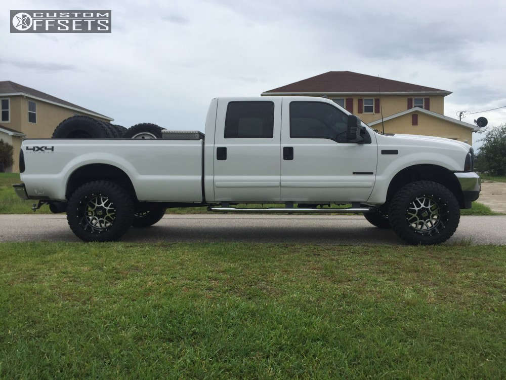 """2002 Ford F-350 Super Duty Aggressive > 1"""" outside fender on 20x12 -44 offset XD XD820 and 35""""x12.5"""" Atturo Trail Blade MT on Suspension Lift 3"""" - Custom Offsets Gallery"""