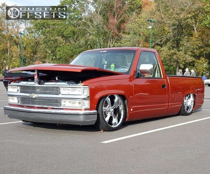 1992 Chevrolet C1500 Tucked on 20x8.5 0 offset Ridler Style 695 & 245/35 Toyo Tires Extensa Hp on Air Suspension - Custom Offsets Gallery