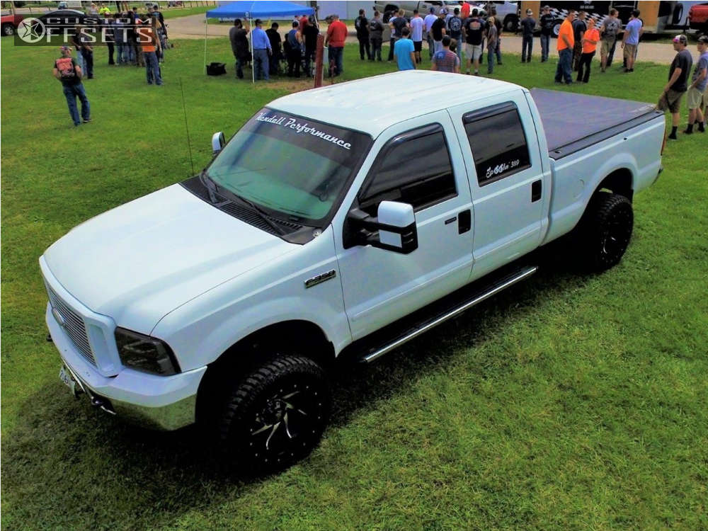 """2007 Ford F-350 Super Duty Aggressive > 1"""" outside fender on 20x12 -44 offset Red Dirt Road Vortex & 33""""x12.5"""" Atturo Trail Blade Mt on Leveling Kit - Custom Offsets Gallery"""