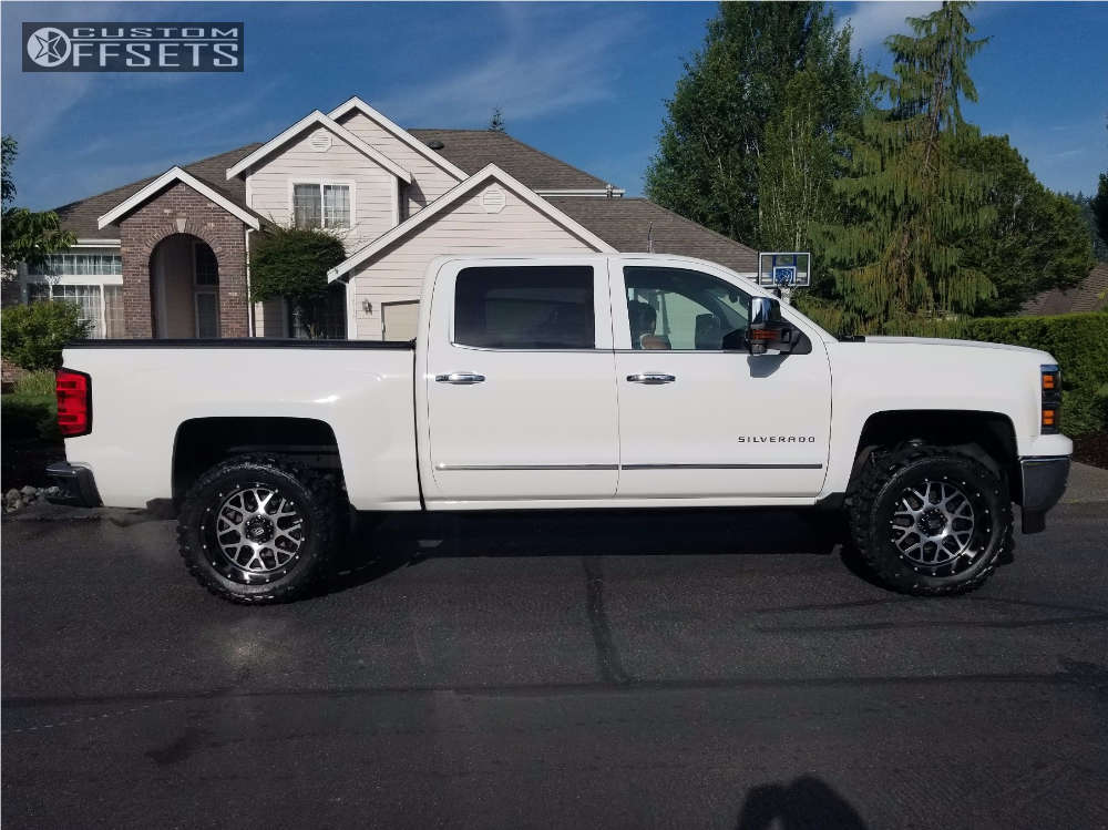 """2015 Chevrolet Silverado 1500 Aggressive > 1"""" outside fender on 20x10 -24 offset XD XD820 and 33""""x12.5"""" Federal Couragia MT on Suspension Lift 3"""" - Custom Offsets Gallery"""