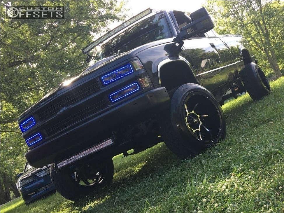 "1995 Chevrolet K1500 Aggressive > 1"" outside fender on 20x12 -51 offset Vision Prowler & 305/50 Nitto NT420S on Leveling Kit & Body Lift - Custom Offsets Gallery"