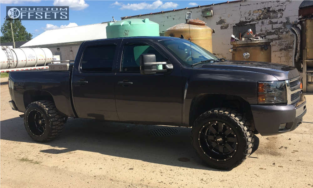 """2010 Chevrolet Silverado 1500 Super Aggressive 3""""-5"""" on 20x12 -44 offset Moto Metal MO962 and 33""""x12.5"""" Nitto Mud Grappler on Suspension Lift 3.5"""" - Custom Offsets Gallery"""