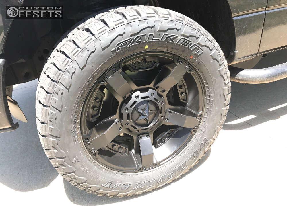 "2014 Ford F-150 Aggressive > 1"" outside fender on 20x9 0 offset XD Rockstar Ii & 305/55 Falken Wild Peak At3w on Leveling Kit - Custom Offsets Gallery"