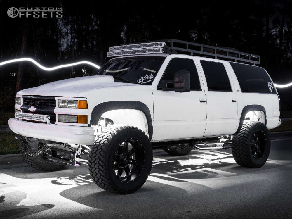 """1999 Chevrolet K2500 Suburban Super Aggressive 3""""-5"""" on 22x11 -24 offset Fuel Hostage & 375/45 Nitto Trail Grappler on Suspension Lift 6"""" - Custom Offsets Gallery"""