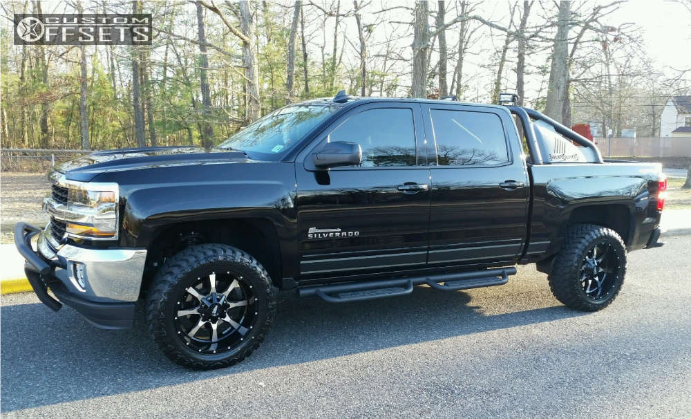 """2016 Chevrolet Silverado 1500 Aggressive > 1"""" outside fender on 20x10 -24 offset Moto Metal Mo970 and 33""""x12.5"""" Atturo Trail Blade Mt on Leveling Kit - Custom Offsets Gallery"""