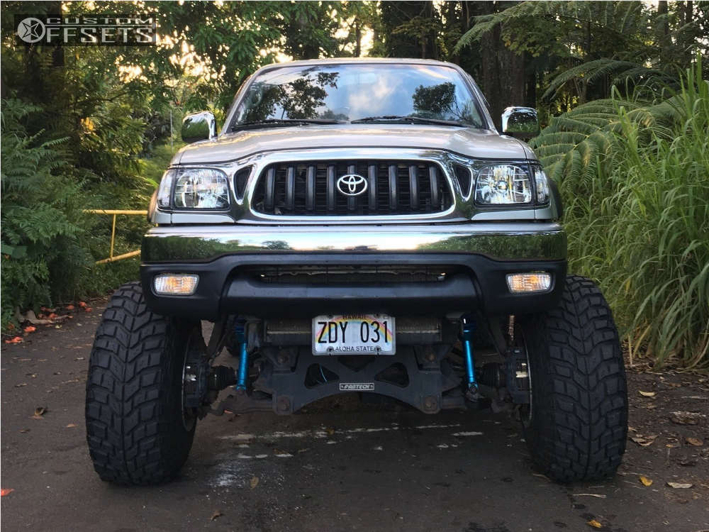 """2003 Toyota Tacoma Hella Stance >5"""" on 15x14 -102 offset Weld Racing Sidewinder and 33""""x12.5"""" Mickey Thompson Baja Claw TTC on Suspension Lift 7"""" & Body 3"""" - Custom Offsets Gallery"""