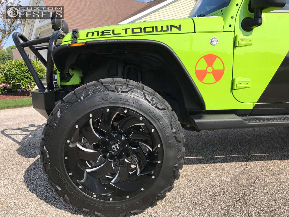 """2013 Jeep Wrangler Super Aggressive 3""""-5"""" on 22x14 -70 offset Fuel Cleaver & 37""""x13.5"""" Nitto Mud Grappler on Suspension Lift 5.5"""" - Custom Offsets Gallery"""