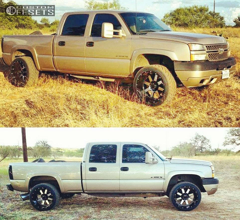 """2005 Chevrolet Silverado 2500 HD Super Aggressive 3""""-5"""" on 22x12 -44 offset Gear Off-Road Big Block and 305/40 Nitto NT420S on Level 2"""" Drop Rear - Custom Offsets Gallery"""