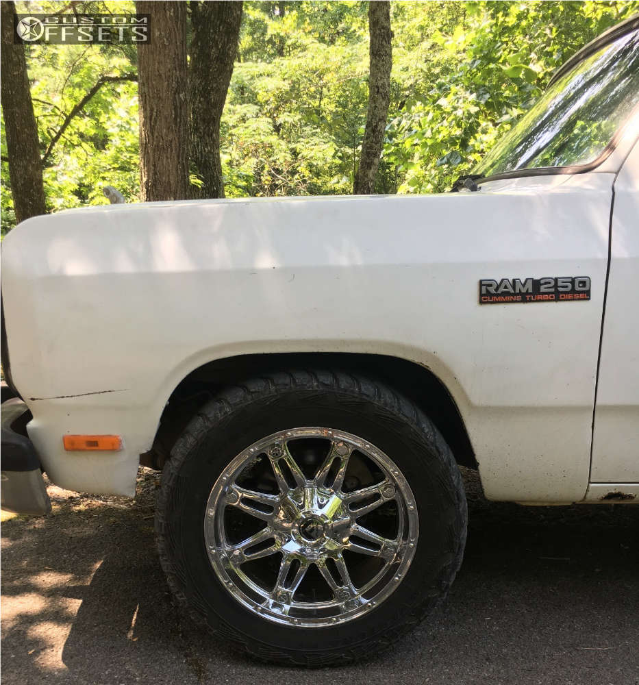 """1991 Dodge D250 Slightly Aggressive on 20x9 -12 offset Fuel Hostage and 33""""x12.5"""" Kumho Road Venture MT on Leveling Kit - Custom Offsets Gallery"""