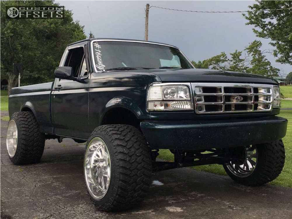 """1994 Ford F-150 Hella Stance >5"""" on 22x16 -101 offset Fuel Forged Ff41 and 355/40 Nitto Trail Grappler on Suspension Lift 6"""" - Custom Offsets Gallery"""