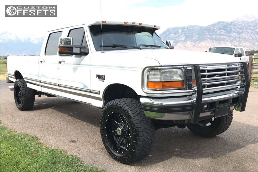 """1995 Ford F-350 Aggressive > 1"""" outside fender on 20x10 -19 offset Ballistic Rage and 305""""x55"""" Nitto Ridge Grappler on Leveling Kit - Custom Offsets Gallery"""