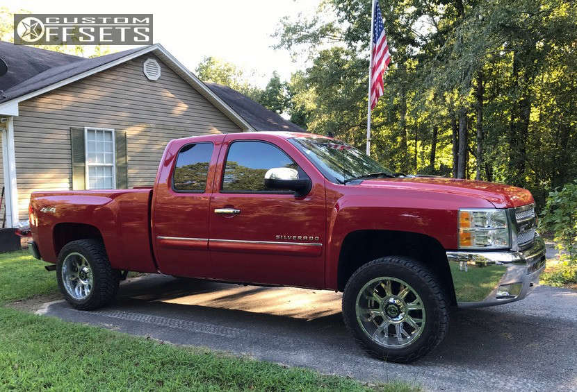 """2013 Chevrolet Silverado 1500 Aggressive > 1"""" outside fender on 20x10 -25 offset Gear Off-Road Kickstand & 275/55 Toyo Tires Open Country C/T on Leveling Kit - Custom Offsets Gallery"""