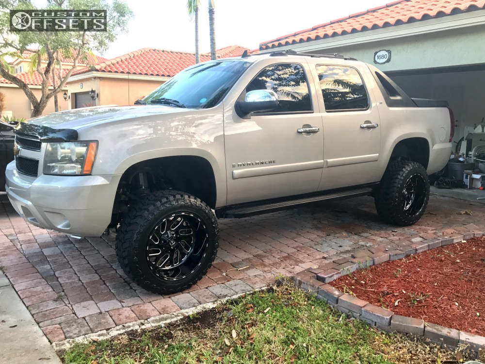 "2007 Chevrolet Avalanche Super Aggressive 3""-5"" on 20x12 -44 offset Fuel Triton and 33""x12.5"" Atturo Trail Blade Mt on Suspension Lift 7.5"" - Custom Offsets Gallery"