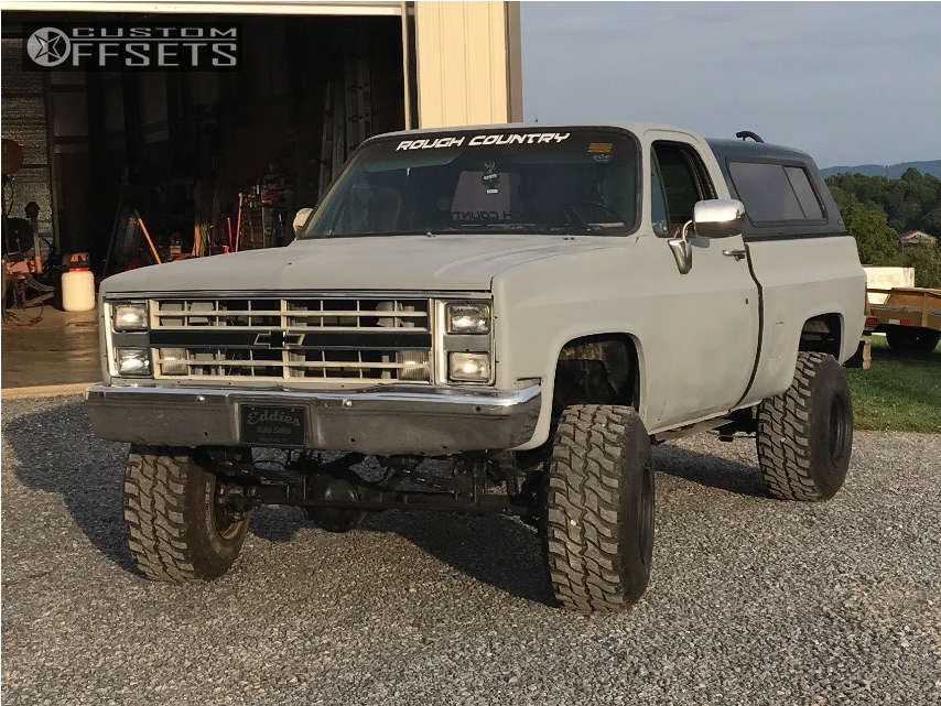 """1985 Chevrolet K10 Pickup Super Aggressive 3""""-5"""" on 15x14 -110 offset Bart Super Trucker and 33""""x12.5"""" Hercules Trail Digger MT on Suspension Lift 4"""" - Custom Offsets Gallery"""