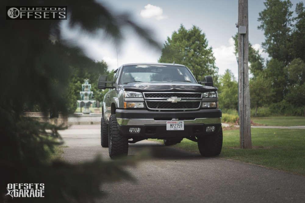 "2006 Chevrolet Silverado 2500 HD Slightly Aggressive on 17x9 -12 offset XD Xd795 and 315/70 Mickey Thompson Baja Mtz on Suspension Lift 3"" - Custom Offsets Gallery"