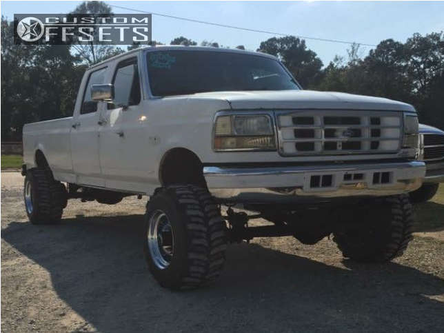 """1996 Ford F-350 Hella Stance >5"""" on 16.5x14 -103 offset Bart Super Trucker and 33""""x14"""" Interco Tsl Bogger on Suspension Lift 2.5"""" - Custom Offsets Gallery"""