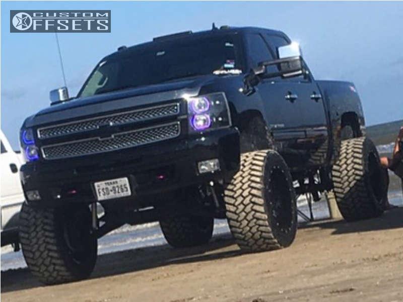 "2013 Chevrolet Silverado 1500 Hella Stance >5"" on 22x14 -70 offset Fuel Maverick D260 & 325/50 Nitto Trail Grappler on Suspension Lift 9"" - Custom Offsets Gallery"