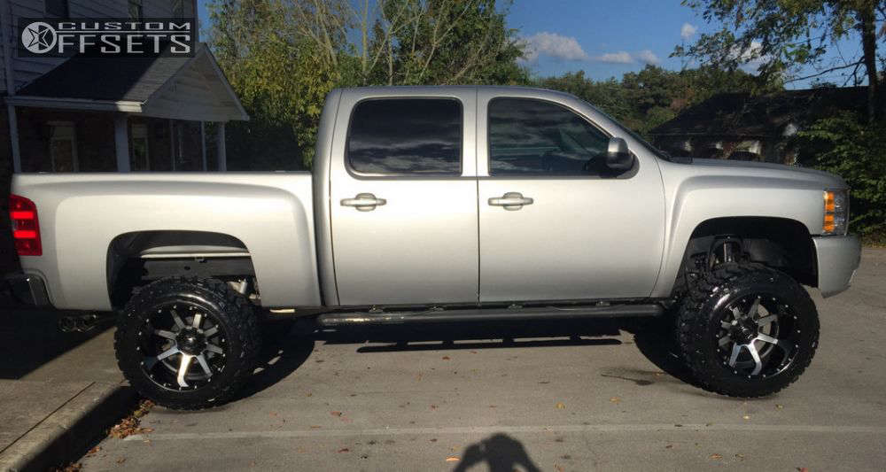 """2011 Chevrolet Silverado 1500 Hella Stance >5"""" on 20x14 -76 offset Fuel Maverick D261 & 35""""x12.5"""" Federal Couragia Mt on Suspension Lift 7.5"""" - Custom Offsets Gallery"""