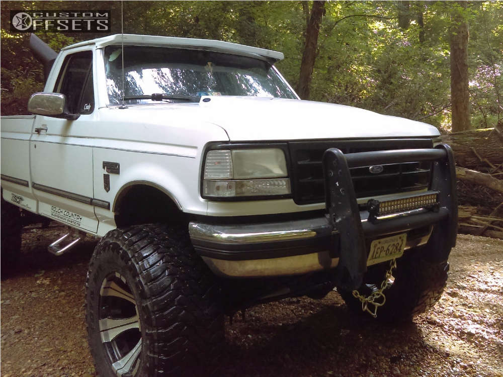 """1997 Ford F-350 Hella Stance >5"""" on 20x12 -50 offset Dick Cepek DC-2 and 40""""x15.5"""" Toyo Tires Open Country M/T on Suspension Lift 9"""" - Custom Offsets Gallery"""