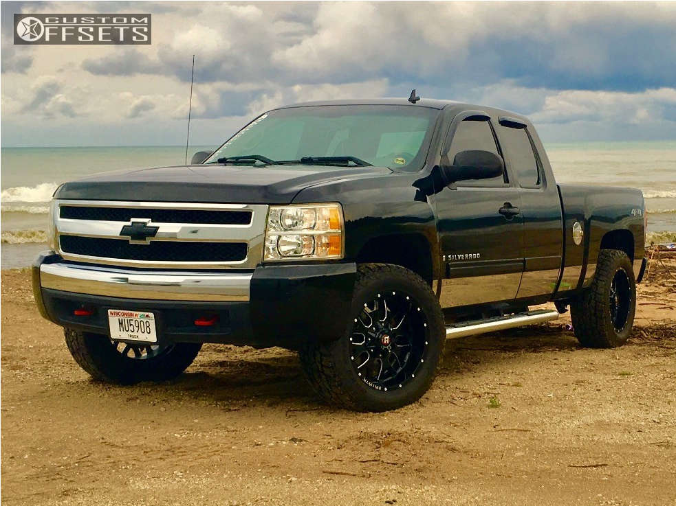 """2007 Chevrolet Silverado 1500 Aggressive > 1"""" outside fender on 20x10 -19 offset Ballistic Tank and 285/60 Toyo Tires Open Country A/t Ii on Leveling Kit - Custom Offsets Gallery"""