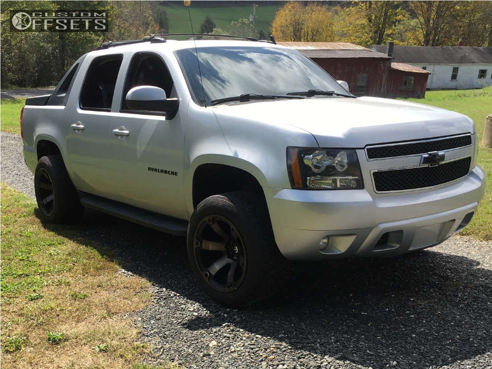 """2012 Chevrolet Avalanche Super Aggressive 3""""-5"""" on 20x12 -44 offset Fuel Beast and 305/50 Nitto NT420S on Leveling Kit - Custom Offsets Gallery"""