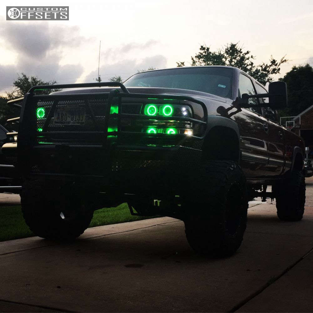 """2002 Chevrolet Silverado 2500 HD Super Aggressive 3""""-5"""" on 20x12 -44 offset Fuel Hostage and 37""""x13.5"""" Nitto Mud Grappler on Lifted >9"""" - Custom Offsets Gallery"""