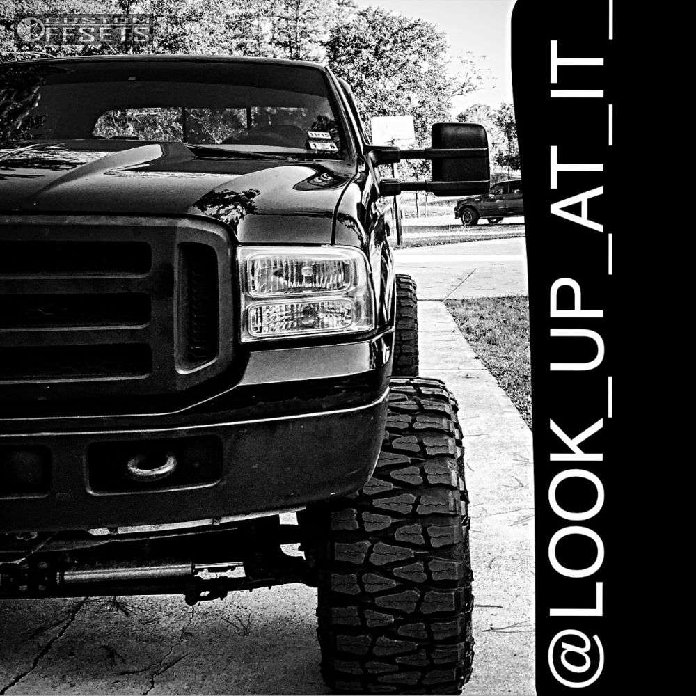 """2006 Ford F-250 Hella Stance >5"""" on 20x14 -74 offset Fuel Hostage and 40""""x15.5"""" Nitto Mud Grappler on Lifted >9"""" - Custom Offsets Gallery"""
