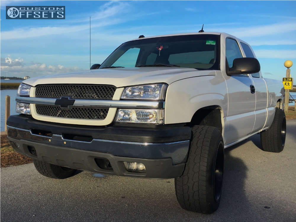 """2005 Chevrolet Silverado 1500 Super Aggressive 3""""-5"""" on 20x12 -44 offset Fuel Octane and 275""""x60"""" Hankook Dynapro At-m on Leveling Kit - Custom Offsets Gallery"""