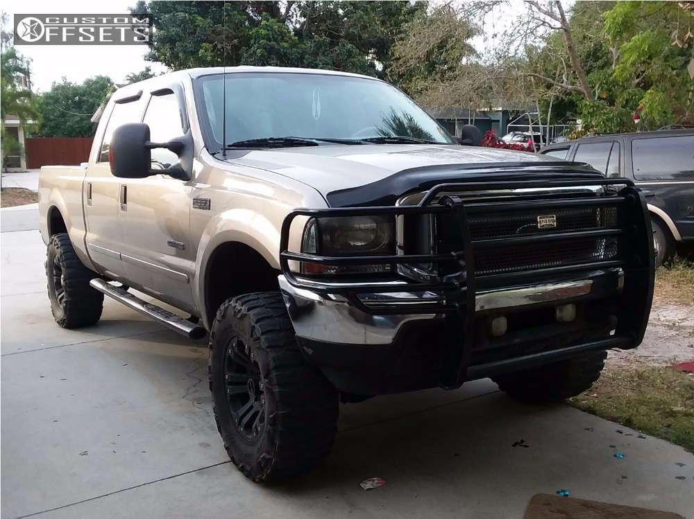 """2003 Ford F-350 Slightly Aggressive on 18x9 -12 offset XD Monster and 35""""x12.5"""" Nitto Mud Grappler on Suspension Lift 4"""" - Custom Offsets Gallery"""