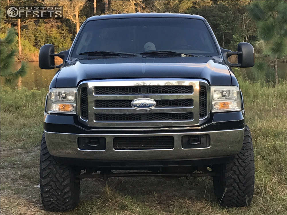 """2005 Ford F-350 Aggressive > 1"""" outside fender on 20x9 0 offset Vision Warrior and 37""""x13.5"""" Toyo Tires Open Country M/T on Suspension Lift 5"""" - Custom Offsets Gallery"""