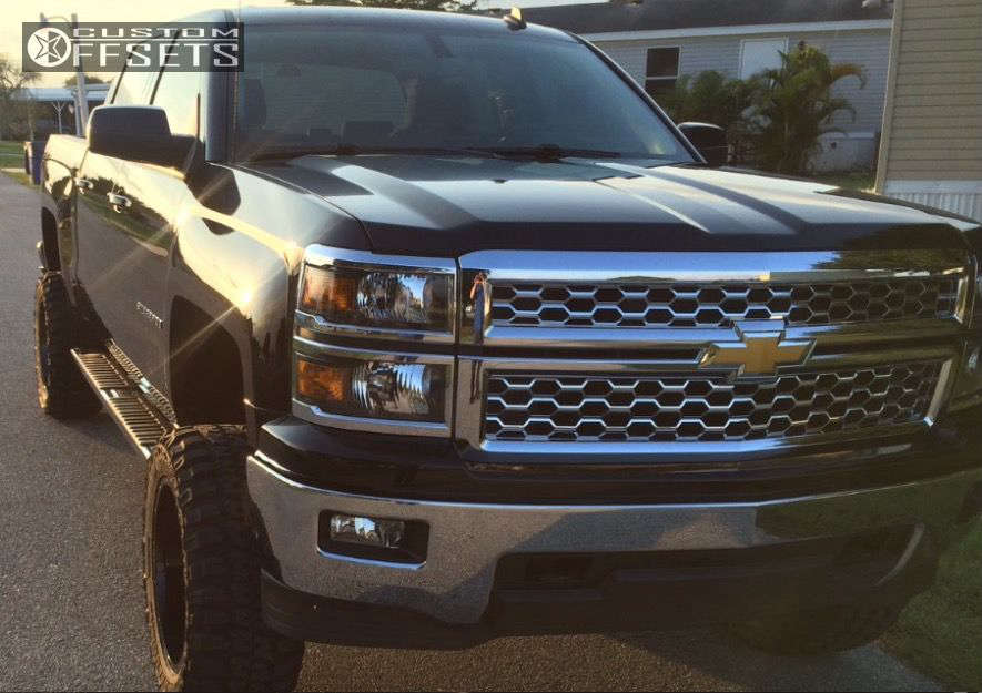 """2014 Chevrolet Silverado 1500 Aggressive > 1"""" outside fender on 20x10 -25 offset Vision ARC & 33""""x12.5"""" Federal Couragia MT on Suspension Lift 7.5"""" - Custom Offsets Gallery"""