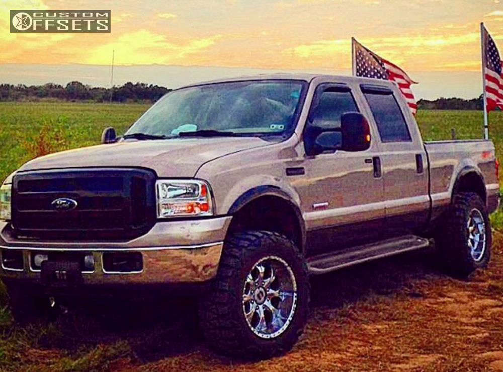 """2006 Ford F-250 Aggressive > 1"""" outside fender on 20x10 -12 offset Helo He791 and 35""""x12.5"""" Nitto Mud Grappler on Leveling Kit - Custom Offsets Gallery"""