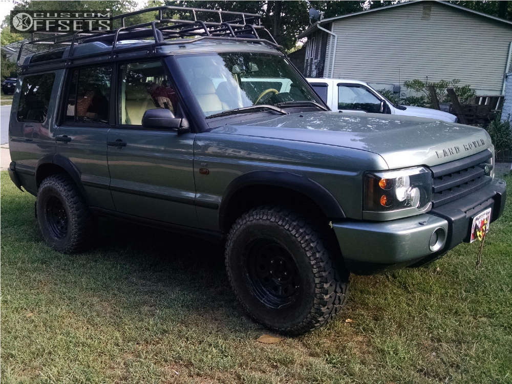 """2004 Land Rover Discovery Slightly Aggressive on 16x8 25 offset RoversNorth Vented Steel and 265/75 Firestone Destination MT on Suspension Lift 3.5"""" - Custom Offsets Gallery"""