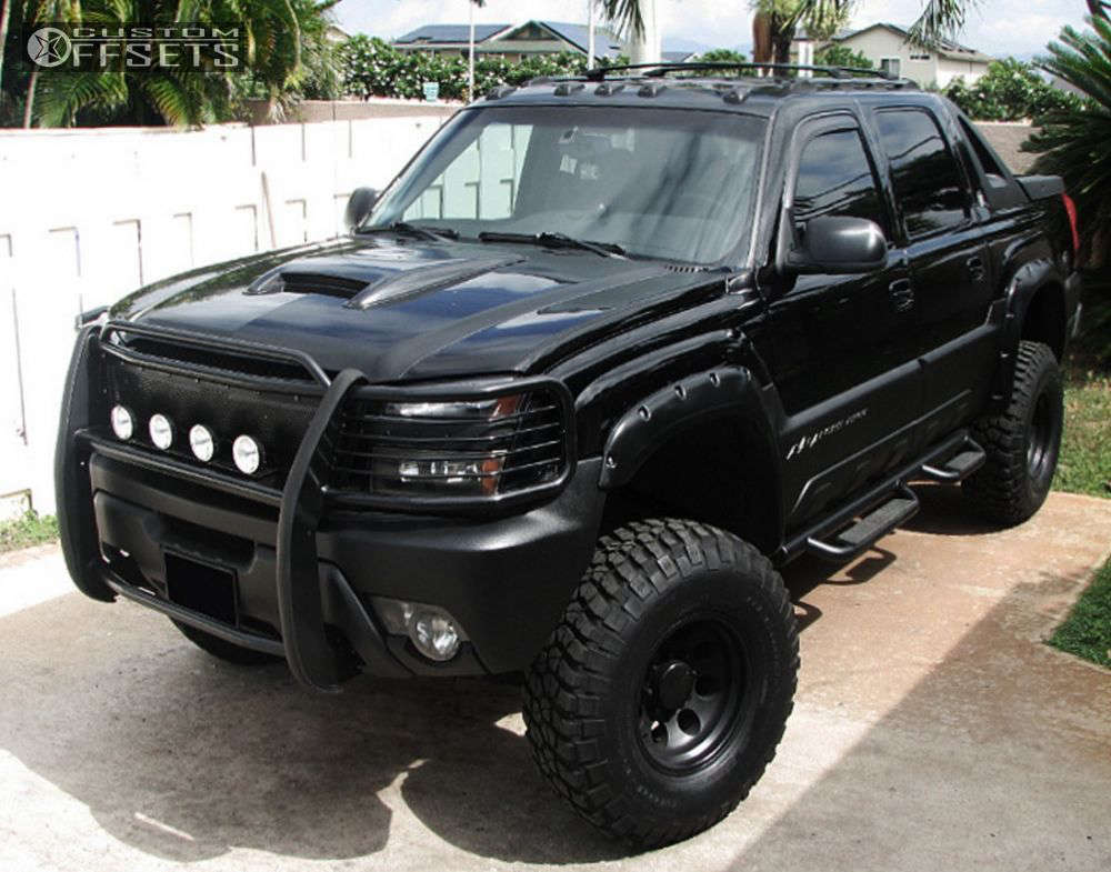 """2002 Chevrolet Avalanche 2500 Aggressive > 1"""" outside fender on 16x8 -11 offset American Eagle Style 186 & 35""""x12.5"""" BFGoodrich M/t Km2 on Suspension Lift 6"""" - Custom Offsets Gallery"""