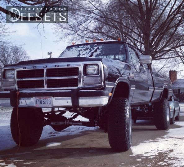"""1992 Dodge D250 Super Aggressive 3""""-5"""" on 16.5x12 -76.2 offset Bart Super Trucker and 37""""x12.5"""" Goodyear Wrangler MTR on Suspension Lift 6"""" - Custom Offsets Gallery"""