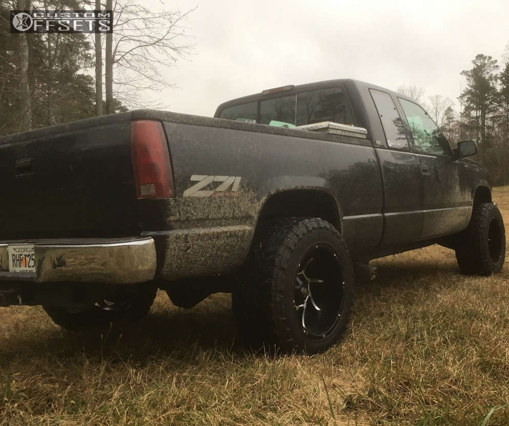 """1995 Chevrolet K1500 Hella Stance >5"""" on 20x12 -51 offset Vision Prowler & 35""""x12.5"""" Toyo Tires Open Country M/T on Suspension Lift 2.5"""" - Custom Offsets Gallery"""