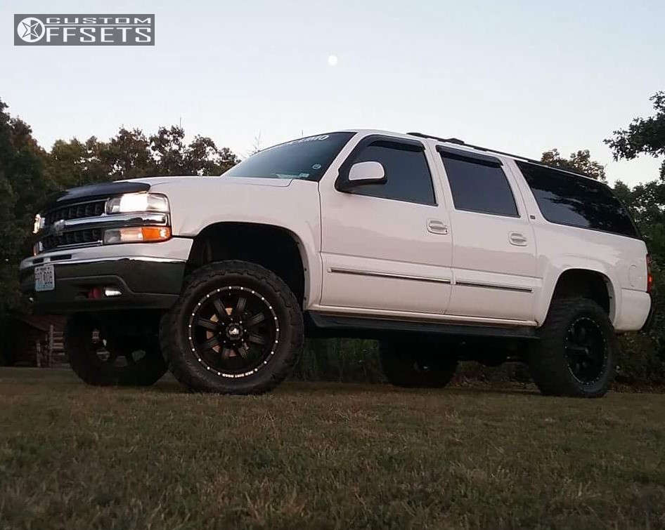 """2001 Chevrolet Suburban Super Aggressive 3""""-5"""" on 20x12 -44 offset Red Dirt Road Rd01 and 35""""x12.5"""" Federal Couragia Mt on Suspension Lift 6"""" - Custom Offsets Gallery"""