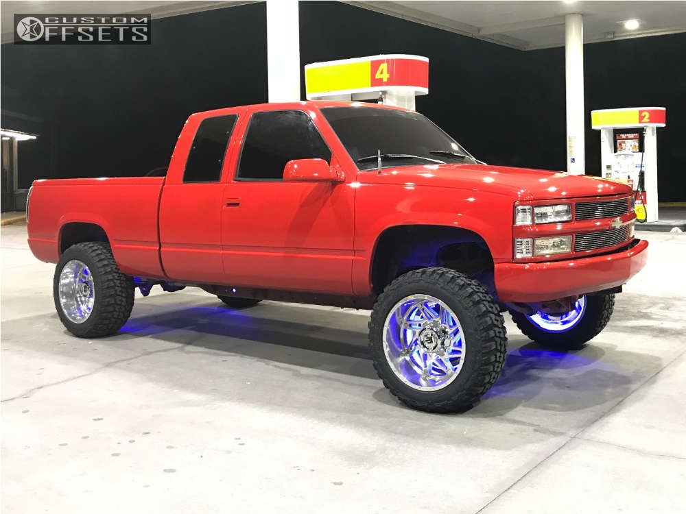 """1993 Chevrolet C1500 Aggressive > 1"""" outside fender on 20x12 -44 offset American Truxx Warrior & 33""""x12.5"""" Federal Couragia Mt on Suspension Lift 7"""" - Custom Offsets Gallery"""