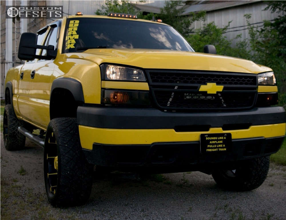"""2006 Chevrolet Silverado 2500 HD Classic Aggressive > 1"""" outside fender on 20x9 -12 offset XD Badlands and 305/50 Nitto Nt420s on Suspension Lift 2.5"""" - Custom Offsets Gallery"""
