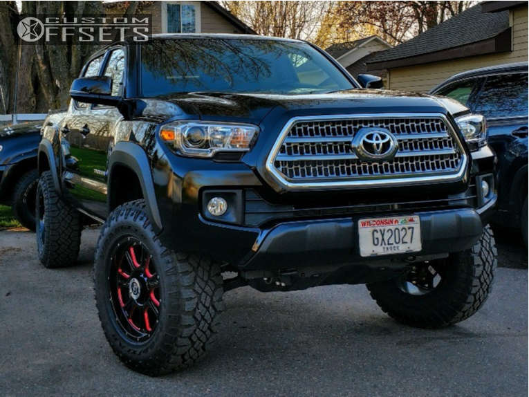 2017 Toyota Tacoma Slightly Aggressive on 18x8.5 0 offset Granite Alloy Gv9 and 275/70 Goodyear Wrangler Duratrac on Leveling Kit - Custom Offsets Gallery