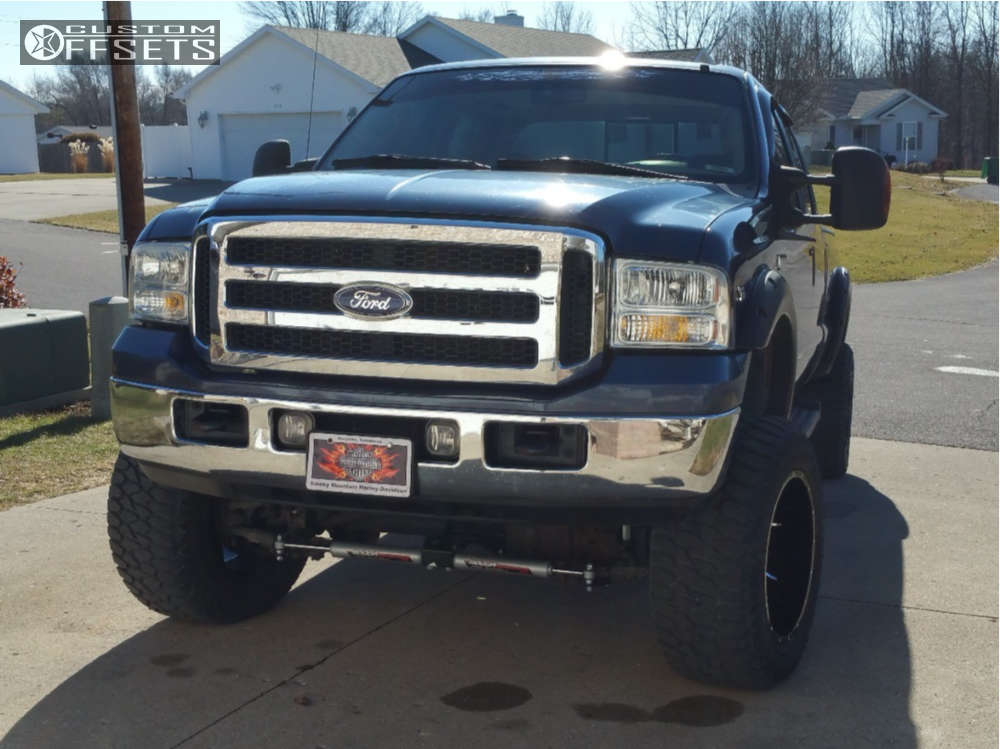 """2006 Ford F-250 Super Duty Super Aggressive 3""""-5"""" on 20x12 -44 offset Red Dirt Road Vortex and 35""""x12.5"""" AMP Terrain Gripper AT G on Suspension Lift 4.5"""" - Custom Offsets Gallery"""