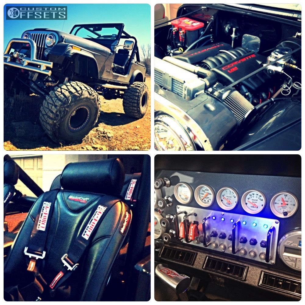 """1984 Jeep CJ7 Hella Stance >5"""" on 15x14 -77 offset MRW Heavy Duty 20 Bolt Beadlock and 38""""x15.5"""" Nitto Mud Grappler on Suspension Lift 9"""" - Custom Offsets Gallery"""