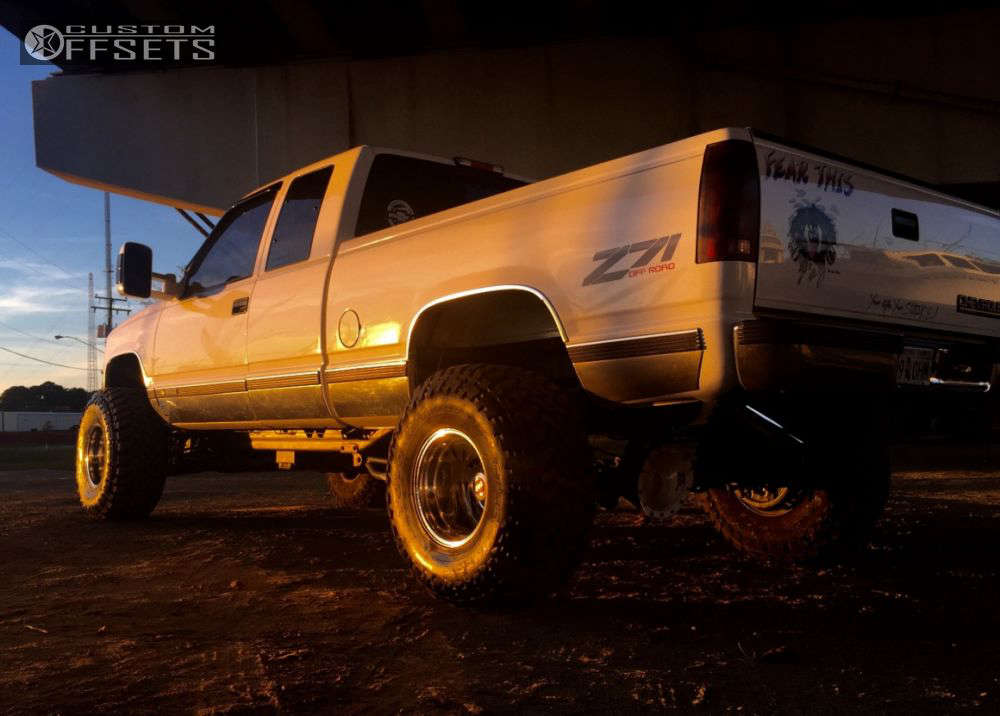 """1998 Chevrolet K1500 Super Aggressive 3""""-5"""" on 15x12 -73 offset Weld Racing T53 & 35""""x13.5"""" Toyo Tires Open Country M/T on Suspension Lift 6"""" - Custom Offsets Gallery"""