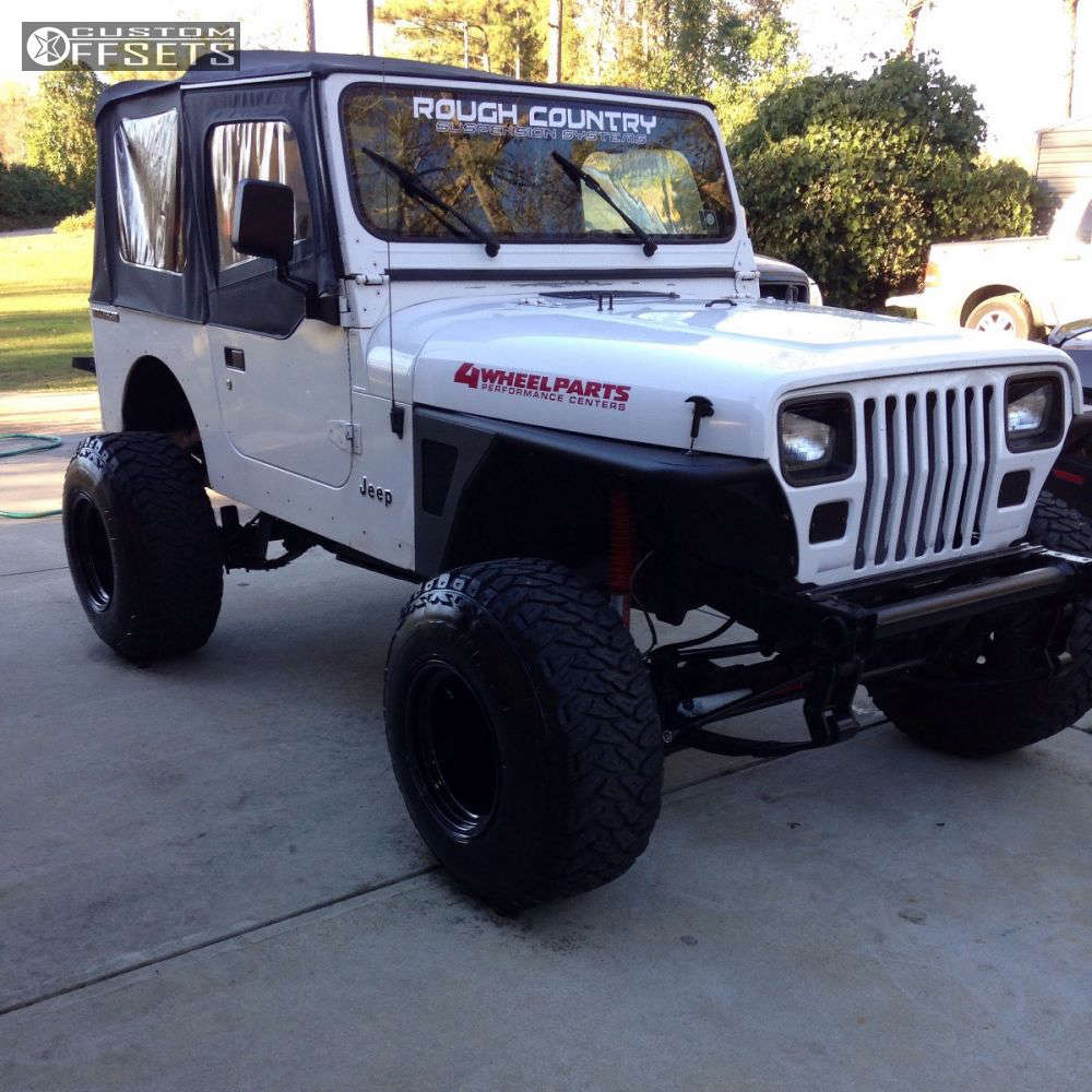 """1990 Jeep Wrangler Hella Stance >5"""" on 15x14 -74 offset Bart Super Trucker and 33""""x12.5"""" Kenda Klever MT on Suspension Lift 4.5"""" - Custom Offsets Gallery"""