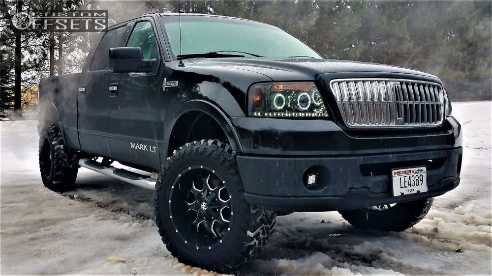 """2008 Lincoln Mark LT Aggressive > 1"""" outside fender on 20x10 -31.35 offset Mayhem Warrior and 35""""x12.5"""" Atturo Trail Blade Mt on Leveling Kit - Custom Offsets Gallery"""
